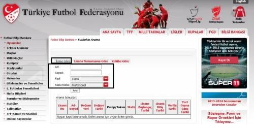 tff futbolcu arama e-sorgulama.com